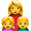 Family: Woman, Girl, Boy Emoji (Apple)