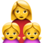 Family: Woman, Girl, Girl Emoji (Apple)