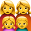 Family: Woman, Woman, Girl, Boy Emoji (Apple)