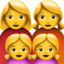Family: Woman, Woman, Girl, Girl Emoji (Apple)