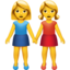 Two Women Holding Hands Emoji (Apple)