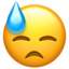 Downcast Face With Sweat Emoji (Apple)