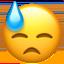 nedslaget kallsvettigt ansikte Emoji (Apple)