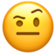 Face With Raised Eyebrow Emoji (Apple)