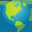 žemės rutulys su Šiaurės ir Pietų Amerikos žemynais Emoji (Facebook)