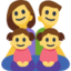 Family: Man, Woman, Girl, Girl Emoji (Facebook)