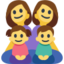 Family: Woman, Woman, Girl, Boy Emoji (Facebook)