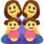 Family: Woman, Woman, Girl, Girl Emoji (Facebook)