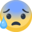 Anxious Face With Sweat Emoji (Facebook)