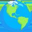 žemės rutulys su Šiaurės ir Pietų Amerikos žemynais Emoji (Messenger)